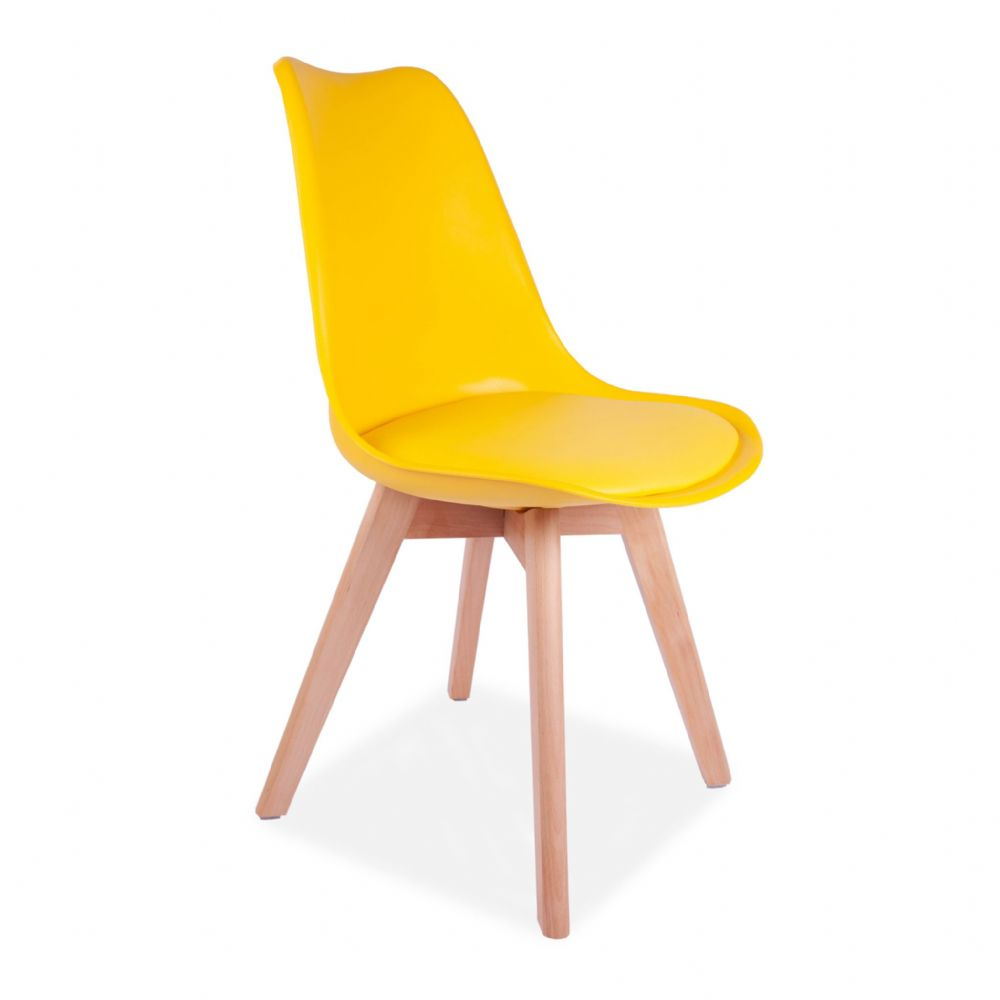 4x Tulip Pyramid Dining Chairs With Beech Legs, Yellow